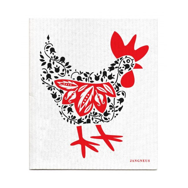 The Amazing Swedish Dish Cloth - Black & Red Chicken