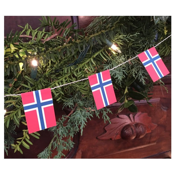 Norwegian Flag Garland String Decoration - 13 feet