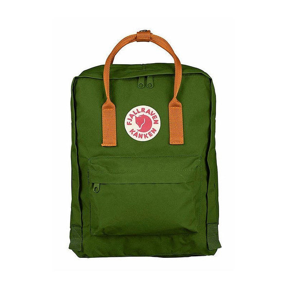 Leaf Green with Burnt Orange Straps - Classic Fjallraven Kanken Backpack