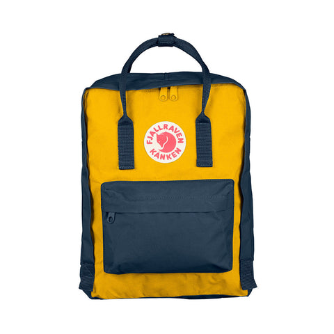 Fjallraven Kanken Classic Backpack – Navy & Warm Yellow