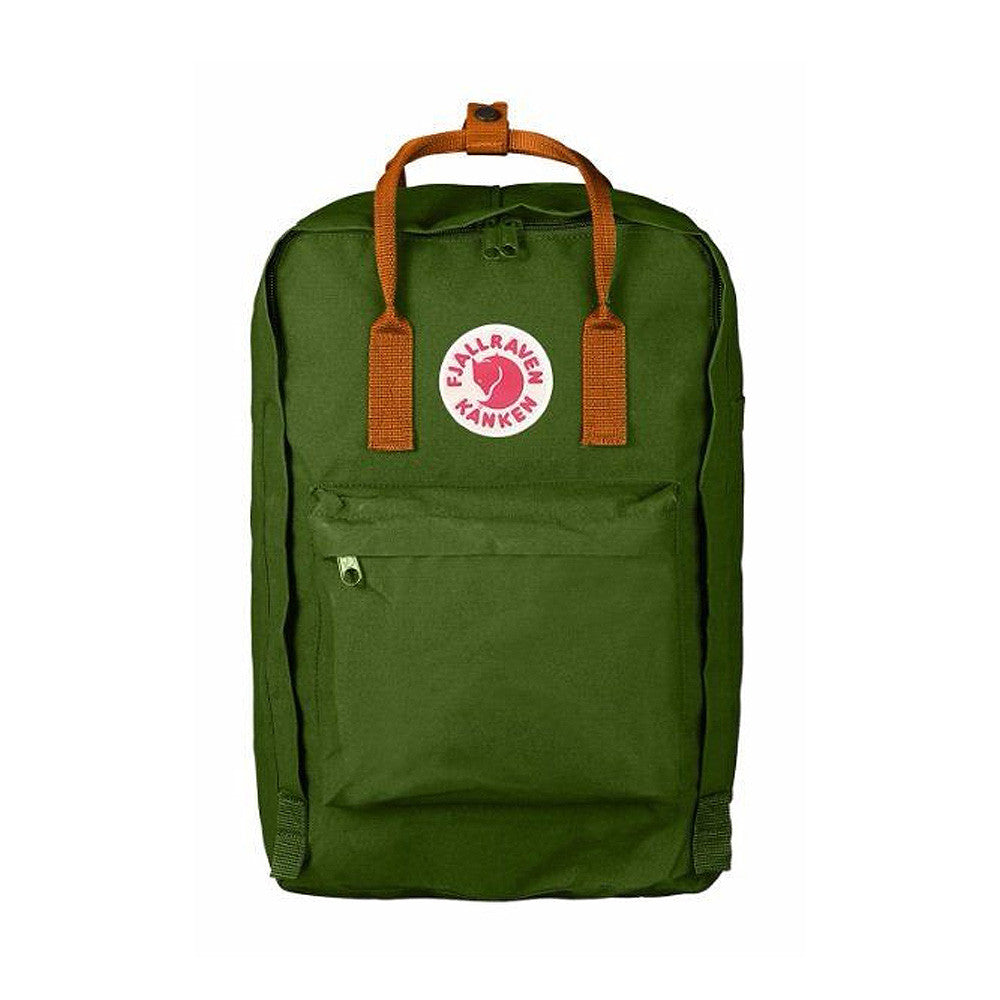 "Fjallraven Kanken Laptop Backpack 17"" – Leaf Green with Burnt Orange Straps"
