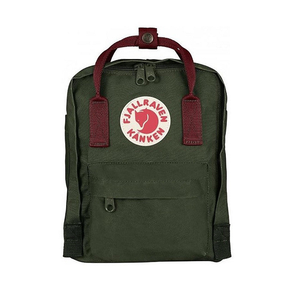 Fjallraven Kanken Mini Backpack – Forest Green with Ox Red straps