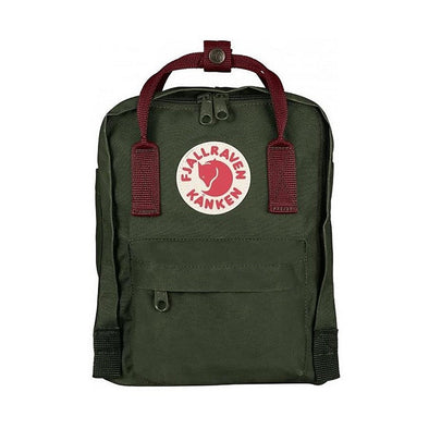 Forest Green with Ox Red straps -Mini Fjallraven Kanken Backpack