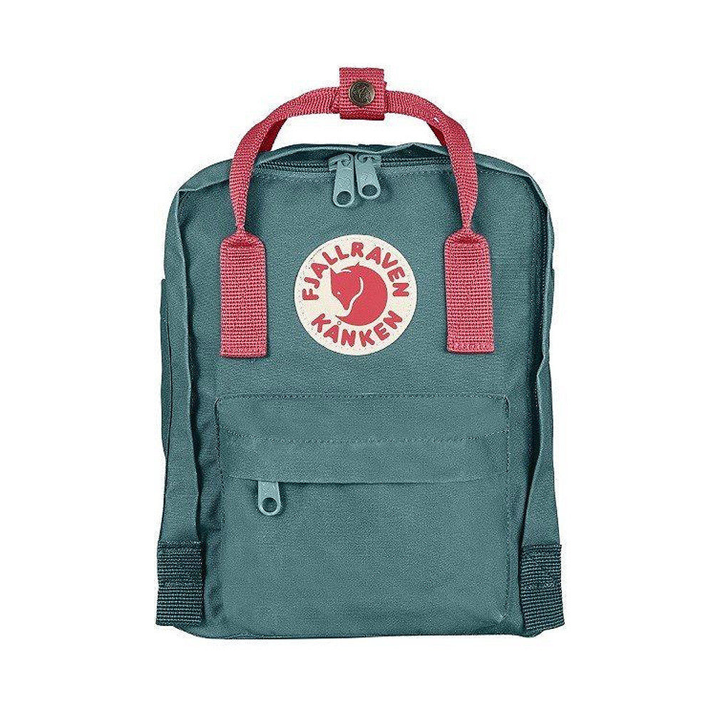 Fjallraven Kanken Mini Backpack – Frost Green with Peach Pink straps