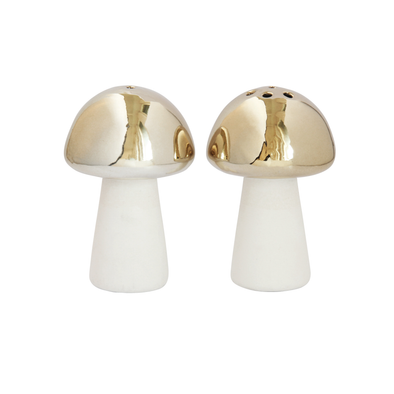 Mushroom Gold Salt and Pepper Shakers