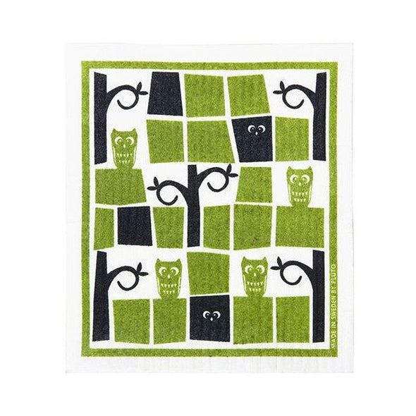 Owl - Green - Amazing Swedish Dishcloth