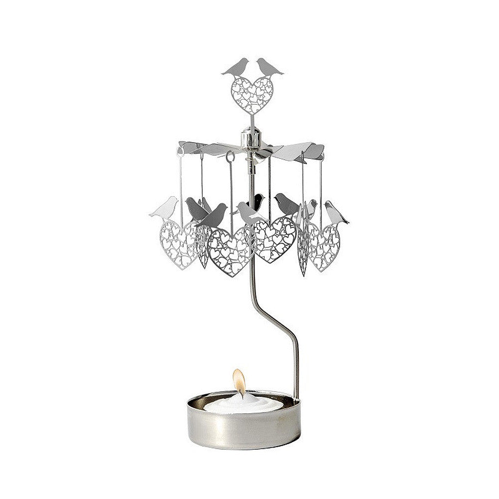 Rotating Carousel Candle Holder - Birds and Hearts