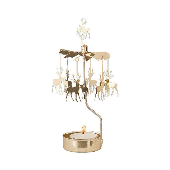 Deer - Gold - Rotating Carousel Candle Holder