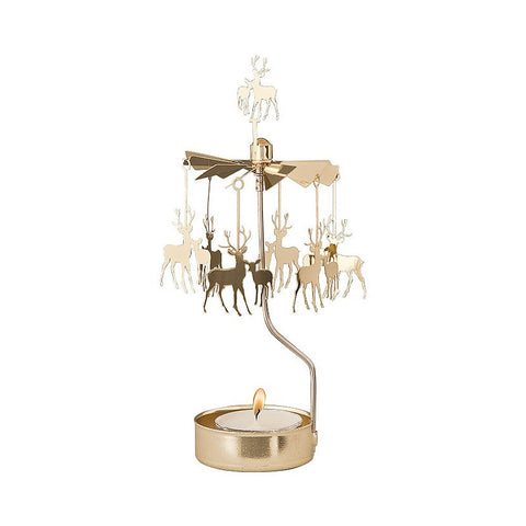 Rotating Carousel Candle Holder - Deer - Gold