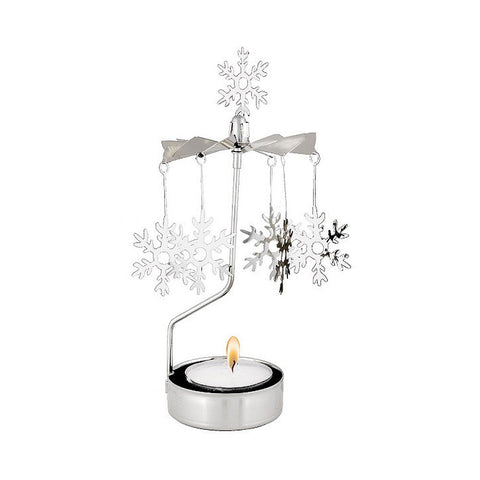 Rotating Carousel Candle Holder - Large Snowflakes