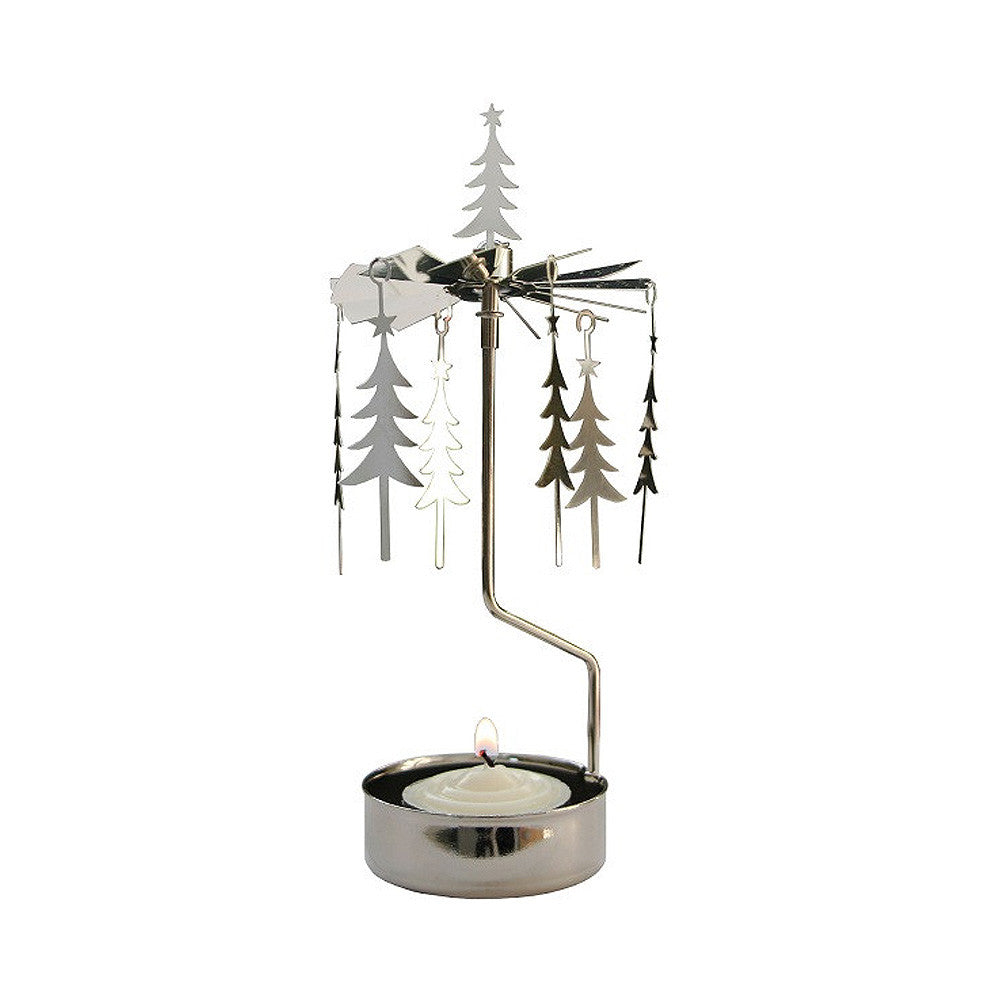 Rotating Carousel Candle Holder - Pine Trees