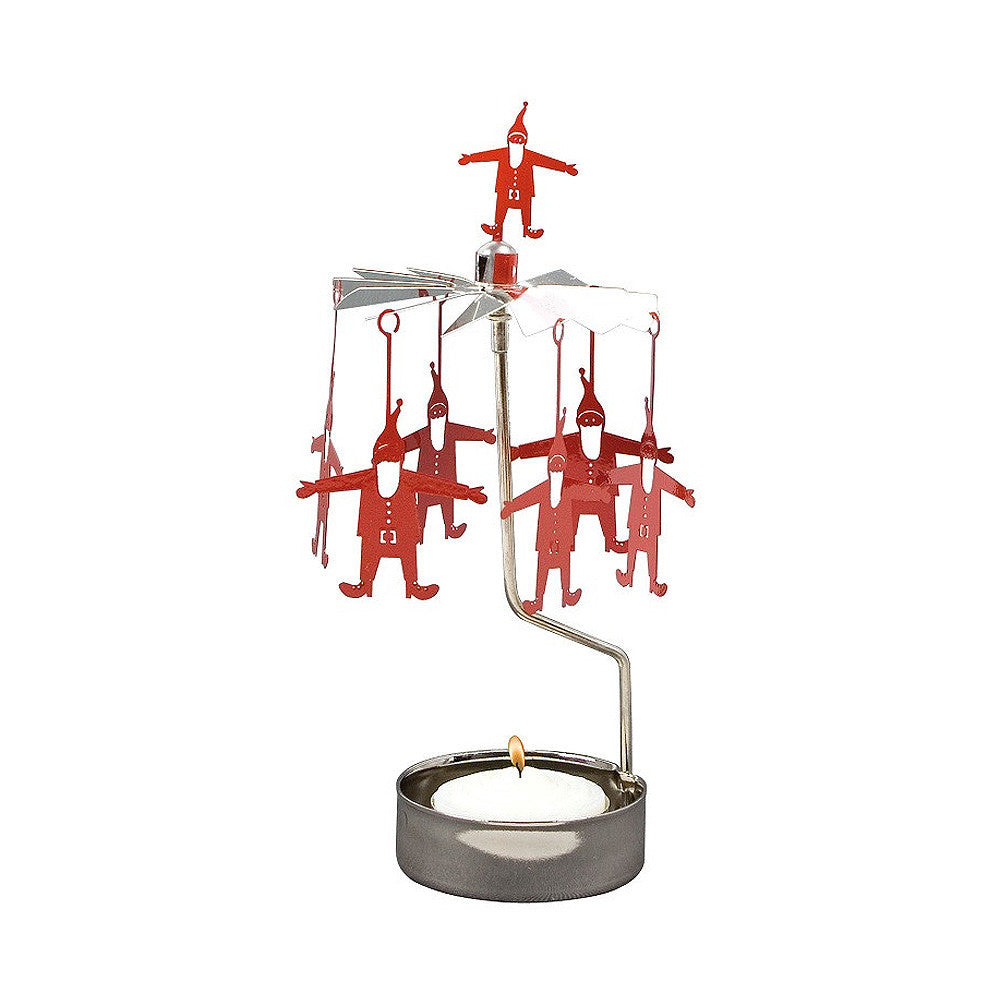 Rotating Carousel Candle Holder - Red Santa