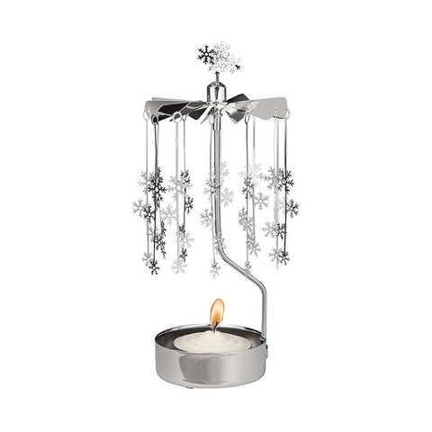 Rotating Carousel Candle Holder - Small Snowflakes