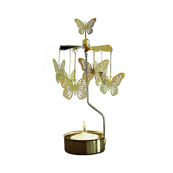 Butterfly - Gold - Rotating Carousel Candle Holder
