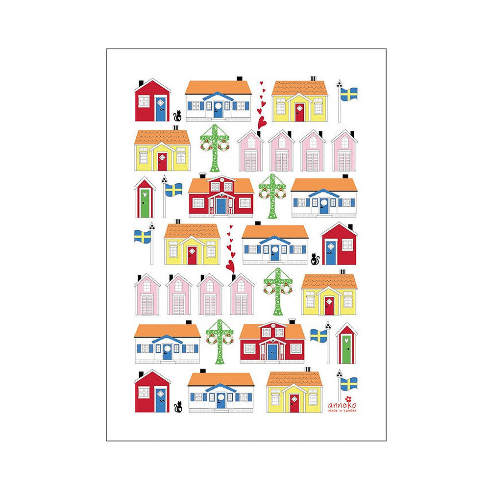 Swedish Houses Tea Towel - By Anneko Design