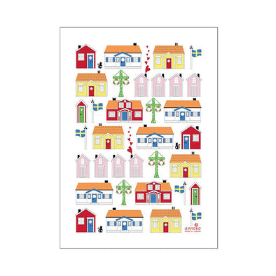 Swedish Houses - Linen and Cotton Tea Towel