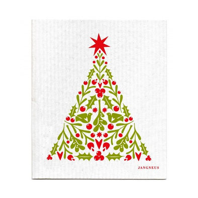 Christmas Tree with Berries and Doves - The Amazing Swedish Dish Cloth