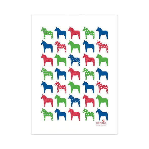 Dala Horses - Linen and Cotton Tea Towel
