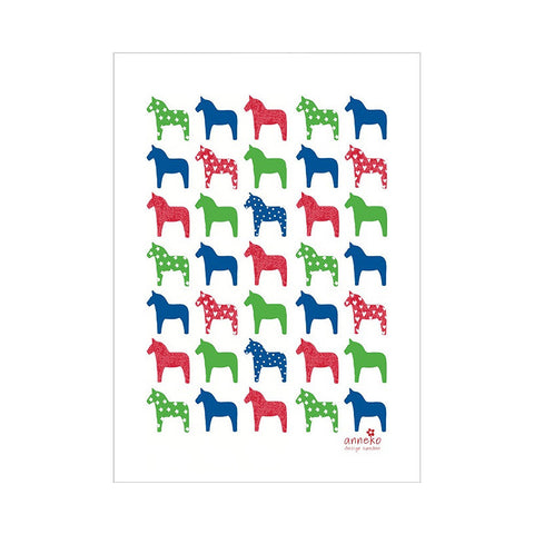 Tea Towel - Dala Horses - By Anneko Design
