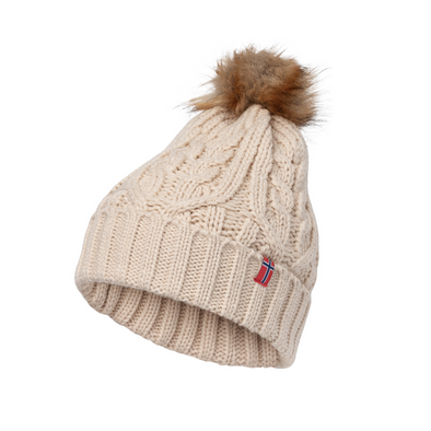 Knit Stocking Hat with Faux Fur Pom Unisex - Beige