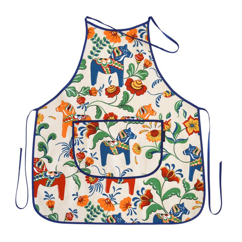 Apron - Colorful Dala Horse - Beige & Blue