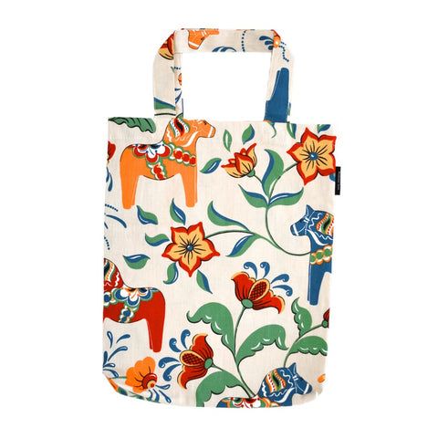 Tote Shopping Bag - Colorful Dala Horse - Beige & Blue
