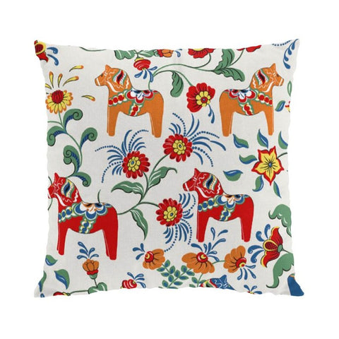 Pillow Case - Colorful Dala Horse - Beige & Blue & Red