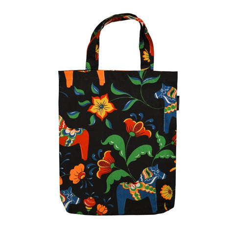 Tote Shopping Bag - Colorful Dala Horse - Black