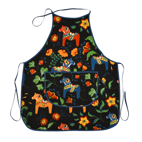 Apron - Colorful Dala Horse - Black & Blue