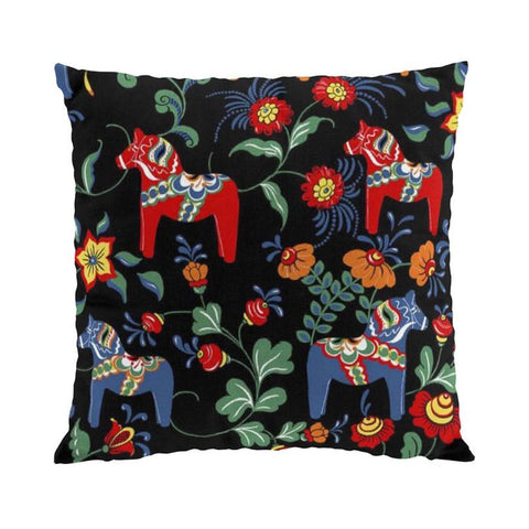 Pillow Case - Colorful Dala Horse - Black & Blue