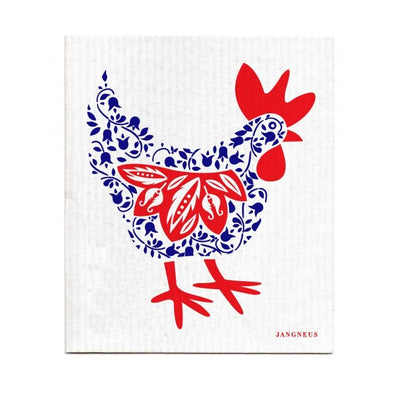 Chicken - Blue & Red - The Amazing Swedish Dish Cloth -