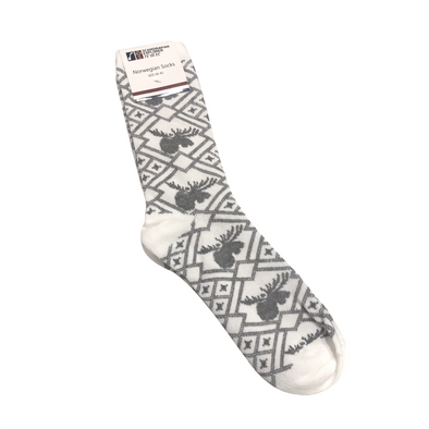Norwegian Socks - Large - Gray/White Moose Pattern