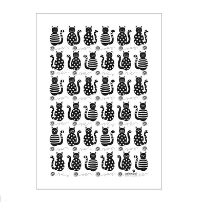 Black Cats and Yarn Balls - Linen and Cotton Tea Towel