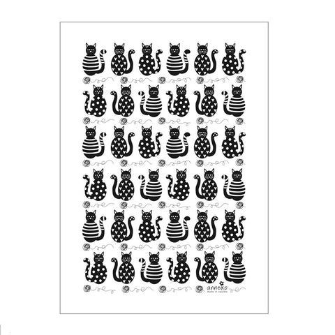 Tea Towel - Black Cats and Yarn Balls - By Anneko Design
