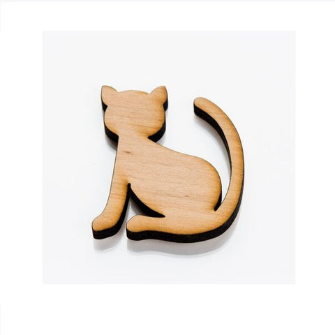 Wooden Fridge Magnet - Cat
