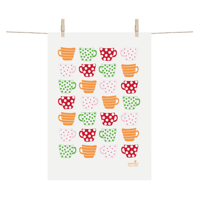 Coffee Cups - Linen and Cotton Tea Towel