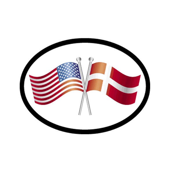 America/Denmark Flags Vinyl Car Decal