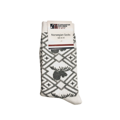 Norwegian Socks - Womens - Gray/White Moose Pattern