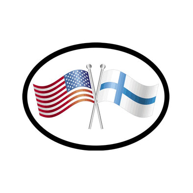 American/Finnish Flags Vinyl Car Decal