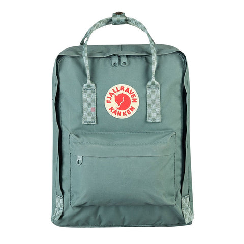 Fjallraven Kanken Classic Backpack – Frost Green Chess Pattern