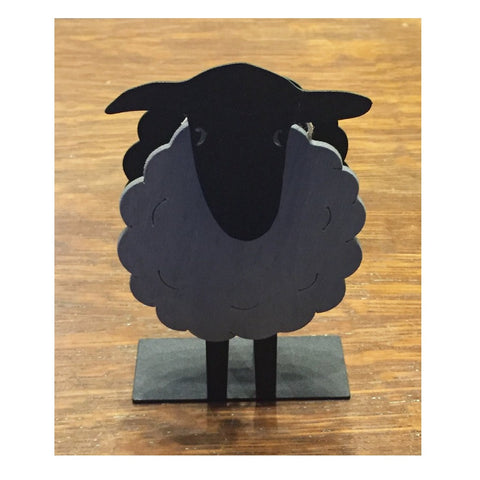 Iron and Wood Napkin Holder - Sheep - Gray and Black