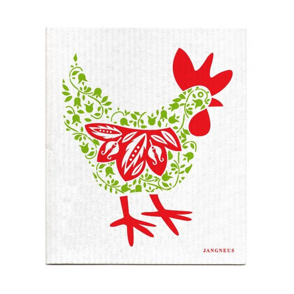 Hen - Green & Red - The Amazing Swedish Dish Cloth