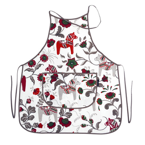 Apron - Colorful Dala Horse - White & Grey