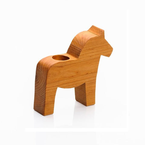 Wooden Dala Horse Candle Holder - Large