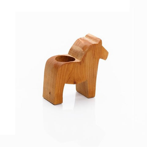 Wooden Dala Horse Candle Holder - Small