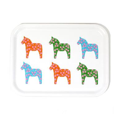6 Dala Horses Birch Wood Serving Tray