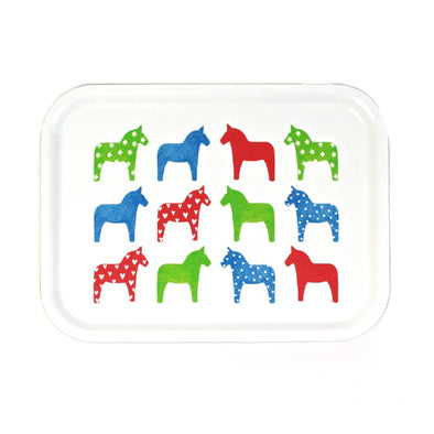 Dala Horses - Birch Wood Serving Tray