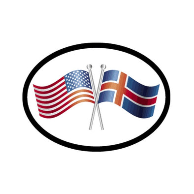American/Icleandic Flags Vinyl Car Decal