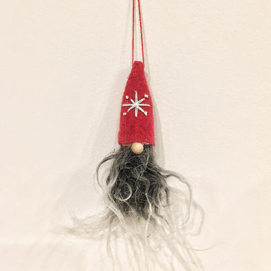 Santa Tomte Nisse Ornament - Red Felt Hat