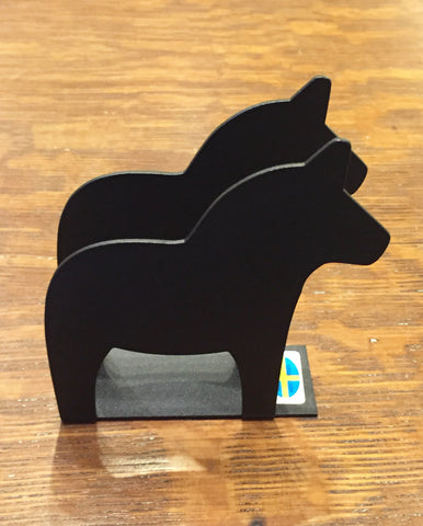 Iron Napkin Holder - Dala Horse - Black